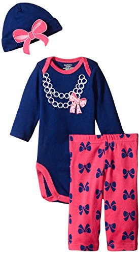 Gerber Baby-Girls Newborn 3 Piece Bodysuit Cap and Legging Set, Bows/Pearls, 3-6 Months