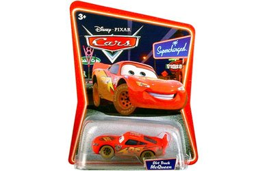 Disney / Pixar Cars 1:55 Scale Die Cast Car the World of Cars Dirt Track Lightning Mcqueen #03 - 1