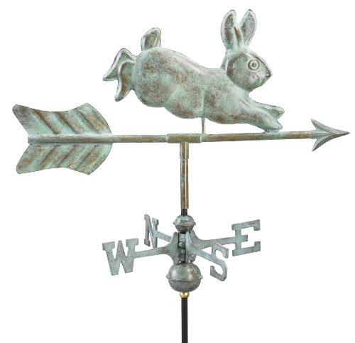 Good Directions 809V1R Rabbit Garden Weathervane with Roof Mount, Blue Verde Copper