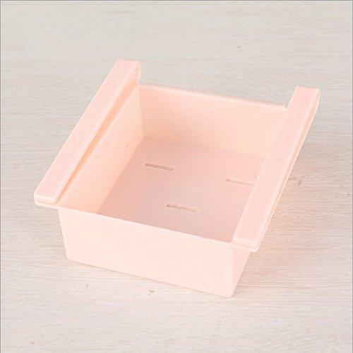 4 Pcs/lot Plastic Kitchen Refrigerator Storage Rack Fridge Freezer Shelf Holder Pull-out Drawer Organiser Space Saver /Pink (Fridge Handle Cover 3 Pc compare prices)