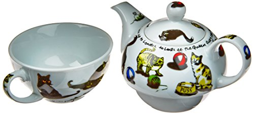 Cardew Cat-Tea Tea Set For One With 16-Ounce Pot And 10-Ounce Cup