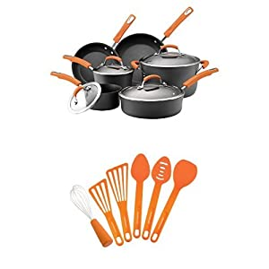 Rachael Ray Hard Anodized II Nonstick Dishwasher Safe 10-Piece Cookware Set (Orange) + 6-Piece Kitchen Tool Set (Orange)