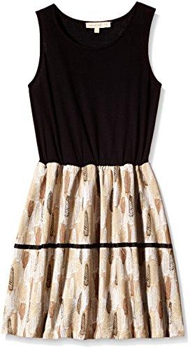 Chemistry Girl Dress (GA15-004KMDRSSLD_Black and Dark Brown_13 - 14 years)