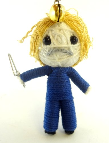 Maniac With Knife Voodoo String Doll Key Chain Handmade Halloween Horror Scary
