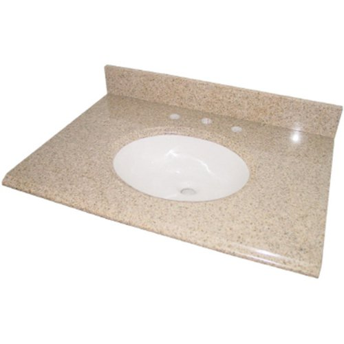 Pegasus PE25682 25-Inch Granite Vanity Top with White Bowl and 8-Inch Spread, Beige