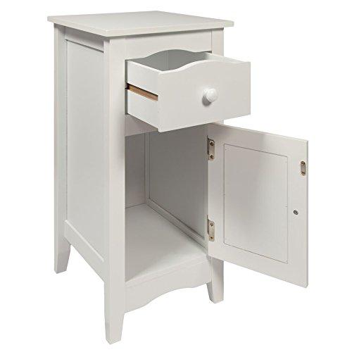 Woodluv slimline drawer and cupboard bedside table cabinet