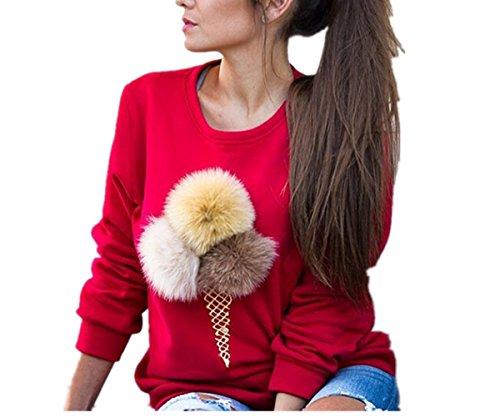 Uideazone delle ragazze delle donne moda carino felpe girocollo manica lunga Rosso S