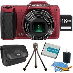 STYLUS SZ-15 16MP 24x SR Zoom 3-inch Hi-Res LCD - Red Plus 16GB Memory Kit. Kit Includes 16GB Memory Card, Replacement Lithium Battery, Flexible Mini Table-top Tripod, Deluxe Carrying Case , and 3pc. Lens Cleaning Kit.