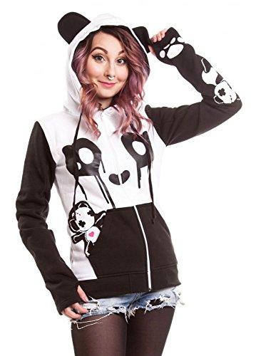 Killer Panda -  Felpa con cappuccio  - Donna Bianco-nero Small