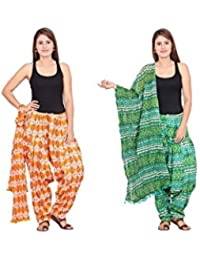 Rama Set Of 2 Printed Orange & Green Colour Cotton Full Patiala With Dupatta Set