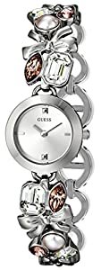 GUESS Women's U11062L1 Crystallized Romance Self-Adjustable Silver-Tone Bracelet Watch