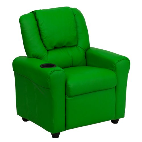 MFO Contemporary Green Vinyl Kids Recliner with Cup Holder and Headrest