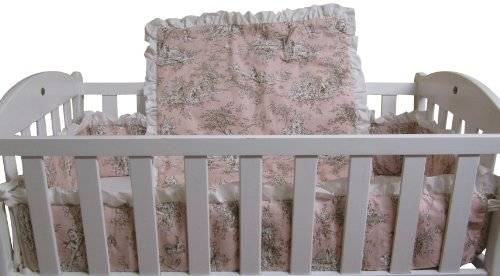 Baby Doll Bedding Toile Deluxe Port-a-Crib Set, Pink