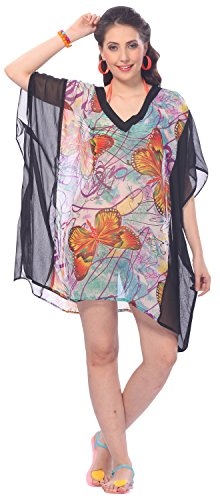 La Leela Sheer Chiffon Butterfly Printed V-Neck Beach Swim Cover up Kaftan Viole