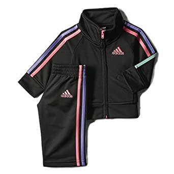 Adidas Kids Warm-Up Suit - Black with Pink, Purple and Mint Green Stripes