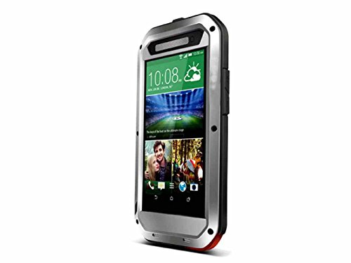 Queens® Waterproof Case Cover For Htc One E8, Aluminum Hard Metal Corning Gorilla Glass Shockproof Dustproof Snowproof Water Resistant Protective Case For Htc One E8 (1-Sliver Queens Case Cover For Htc One E8) front-771360