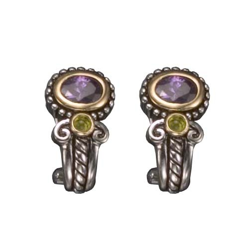 C.Z. AMETHYST AND PERIDOT CLIP RHODIUM PLATED (.925) STERLING SILVER EARRINGS (Nice Holiday Gift, Special Black Firday Sale)