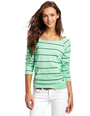 Volcom Juniors Moclov Striped Crew Neck Sweatshirt, Seafoam Green, X-Small