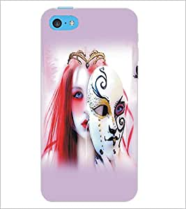 PrintDhaba Mask Girl D-5429 Back Case Cover for APPLE IPHONE 5C (Multi-Coloured)