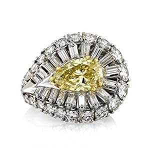 Mark Broumand 8.15ct Fancy Intense Yellow Pear Shaped Diamond Engagement Anniversary Ring by Mark Broumand