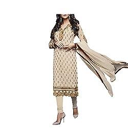 Admyrin Women Beige Georgette Dress Material