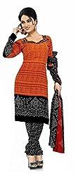 Fashion Storey Fancy Orange and Black Georgette Dress Material