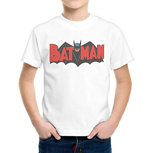 T-Shirt Bambino Ragazzo Logo Vintage Batman Cartoon -