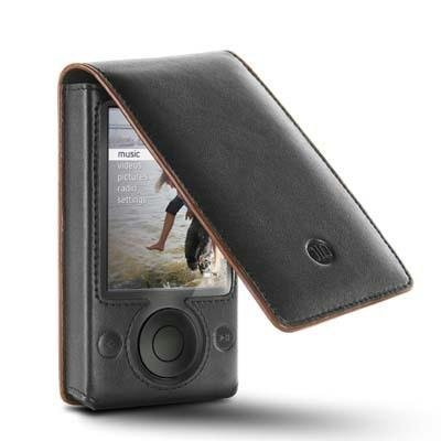 DLO - Phillips Leather Hip Case Folio with Belt Clip for Zune 80GB, 120GB MP3 Player (Black)
