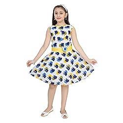 Saarah Blue & Yellow Cotton Frocks For Girls (EMP3092)