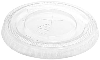 "IFN Green 25-1178-X Green Ease PLA Flat Lid with X-Slot, 3.16"" Diameter x 0.33"" Height, For 3.5, 4.5, 7 and 10 oz Cups (Case of 1000)"