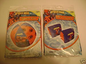 Spiderman Spider Man Arm Floats Floaties & Beachball Beach Ball (sold as set) by BIg Time