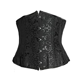 Bslingerie Womens Brocade Lace Up Back Underbust Boned Corset (UK 10-12 (M), Black)
