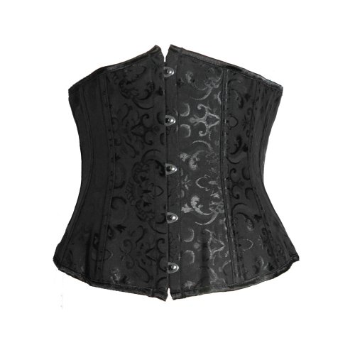 Bslingerie Womens Black Brocade Lace Up Back Underbust Boned Corset Size: UK 8-10 (S)