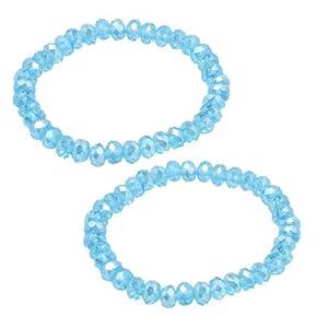 2 Pcs Lady 6mm Dia Plastic Crystal Beaded Stretch Bracelets Bangle Sky Blue