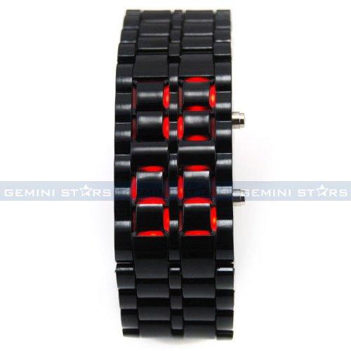 Xmas Stock Sale!!! Bargain Super Sale! Hot Pick 2014!Black Plastic Faceless Bracelet Samurai Lava Red Led Fashion Men Boy Sport Watch By Kbl Limited