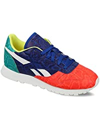 Reebok Women's Cl Lthr Snake Red, Royal, Green And White Leather Sneakers - 6 UK/India (39 EU)(8.5 US)