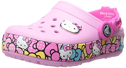 crocs Crocslights Hello Kitty Ribbon Clog (Toddler/Little Kid), Carnation, 12 M US Little Kid