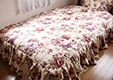 薔薇柄 ヴィクトリアンローズ寝具 花モチーフのベッドスプレッド(ダブル)