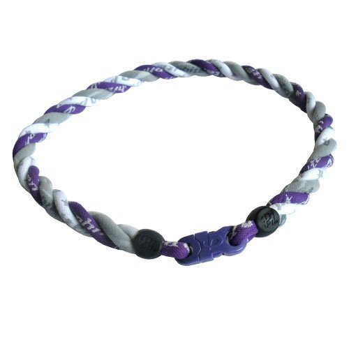 Phiten Titanium Purple and White Star with Grey Air Triple Necklace - 16 inch