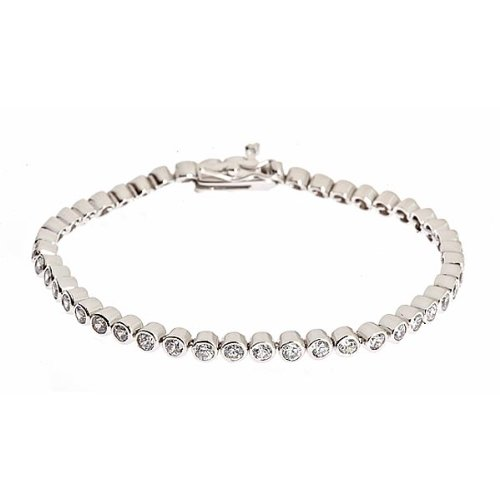 "Modern Bezel Set Sterling Silver CZ 7"" Tennis Bracelet"