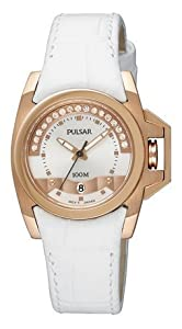 Pulsar by Seiko Women's Watch, Rose Gold Stainless Steel, Swarovski Crystals, White Leather PXT708