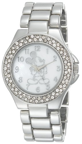 Disney Women's MK2055 Mickey Mouse Mother-of-Pearl Dial Silver-Tone Bracelet Watch