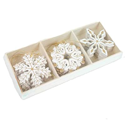 Box of 24 Wooden Snowflakes By Heaven sends Collection