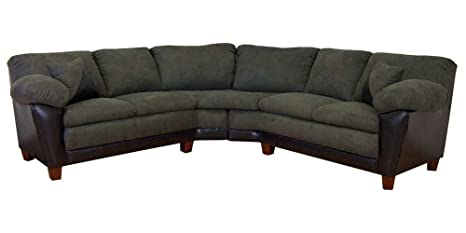 James 2-Pc Sectional Sofa in Bicast Black Fabric