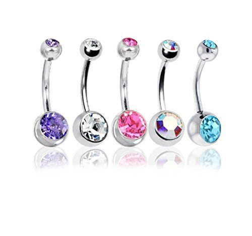 Lot of 5 Double Gem Crystal Belly Button Rings Surgical Steel 14 Gauge 5PC with Belly Retainer (Double Gem Belly Ring compare prices)
