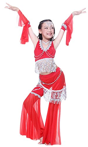 AveryDance Big Girl's Belly Dance Costumes 4-pcs Outfit Bra Top and Pants
