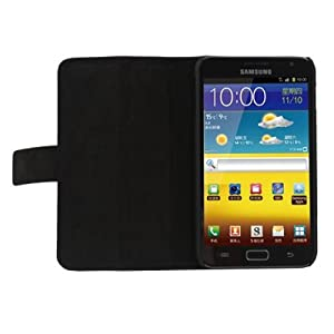 Black high quality leather case for Samsung Galaxy Note book type
