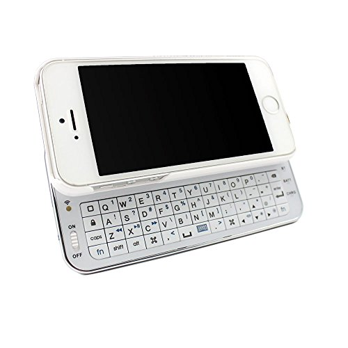 Sanoxy Wireless Bluetooth Sliding Keyboard + Rubberized Hard Shell Case For Iphone 5 (At&T Or Verizon) Iphone 5 5S Ultra-Thin Sliding Bluetooth Keyboard Case - White Bluetooth Wireless Rechargeable Sliding Backlit-Backlight Led Keyboard (White)