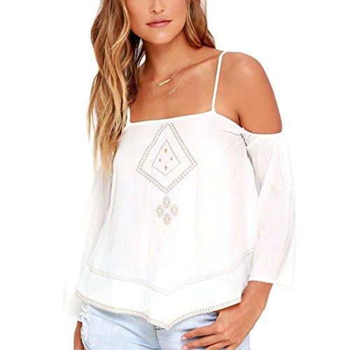 Bellezza Donna Maglie a Manica Lunga Senza Spalline Ricamato Fionda Blusa Camicie Blouse Camicetta T-shirt Top