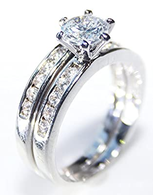Ah! Jewellery. Stunning Rhodium Electroplated Ring Band Set. Lab Created Flawless 6mm Diamond Ring and Matching Half Eternity Band. Classic Design. FREE ENGRAVING.